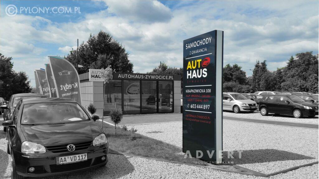 pylon dla komisu samochodowego - pylon reklamowy 3 x 1,2 m - advert reklama