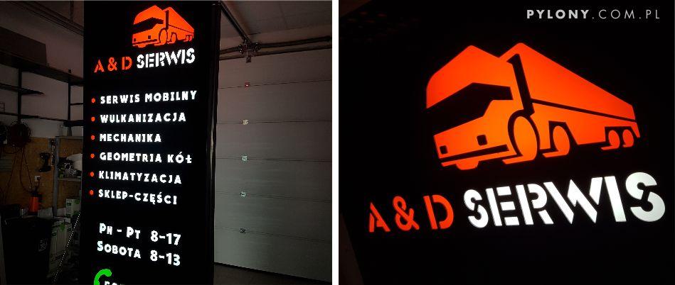 Pylon LED dla warsztatu samochodowego