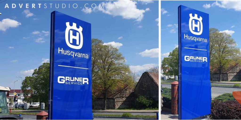 pylon reklamowy LED Husqvarna dla dilera Gruner